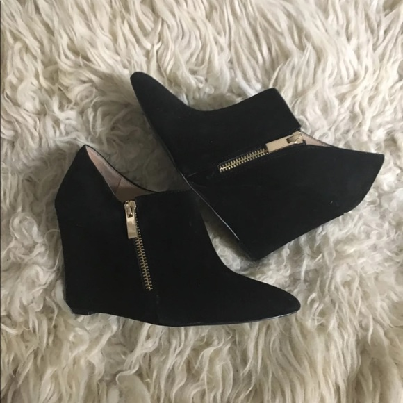 eb298f8b4871 Jessica Simpson Shoes - Jessica Simpson Black Suede Wedge Booties